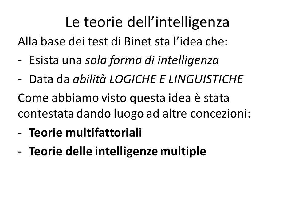 Le teorie dell'intelligenza Alla base dei test di Binet sta l'idea che: -Esista una sola forma di intelligenza -Data da abilità LOGICHE E LINGUISTICHE