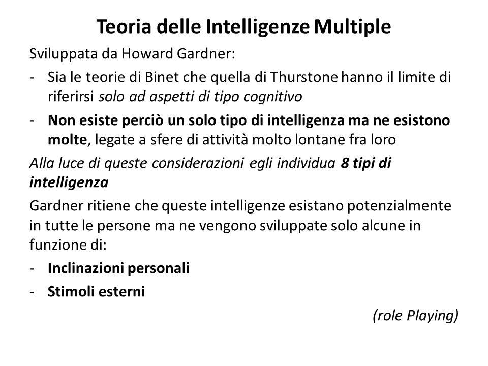 Teoria delle Intelligenze Multiple Sviluppata da Howard Gardner: -Sia le teorie di Binet che quella di Thurstone hanno il limite di riferirsi solo ad