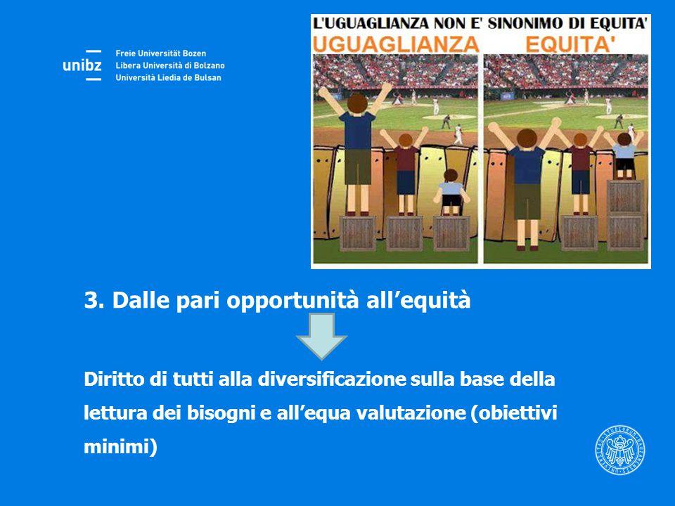 3. Dalle pari opportunità all'equità Diritto di tutti alla diversificazione sulla base della lettura dei bisogni e all'equa valutazione (obiettivi min