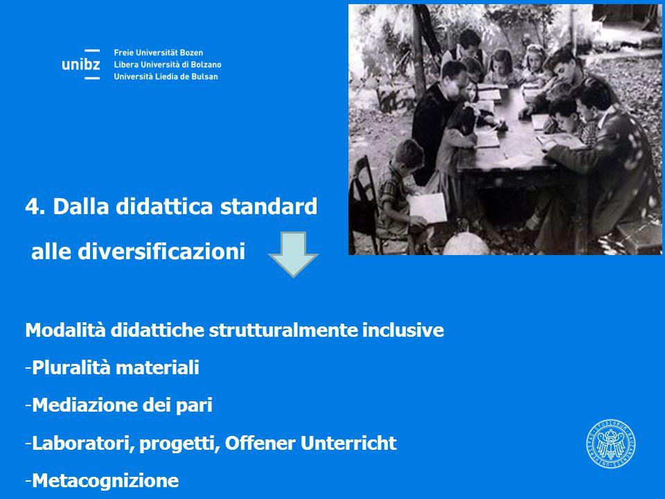 4. Dalla didattica standard alle diversificazioni Modalità didattiche strutturalmente inclusive -Pluralità materiali -Mediazione dei pari -Laboratori,