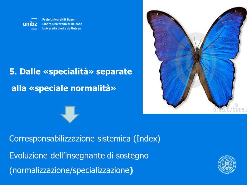 5. Dalle «specialità» separate alla «speciale normalità» Corresponsabilizzazione sistemica (Index) Evoluzione dell'insegnante di sostegno (normalizzaz