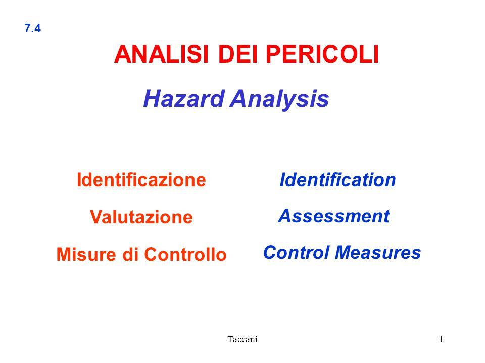 Taccani1 7.4 Identification ANALISI DEI PERICOLI Hazard Analysis Identificazione Valutazione Misure di Controllo Control Measures Assessment