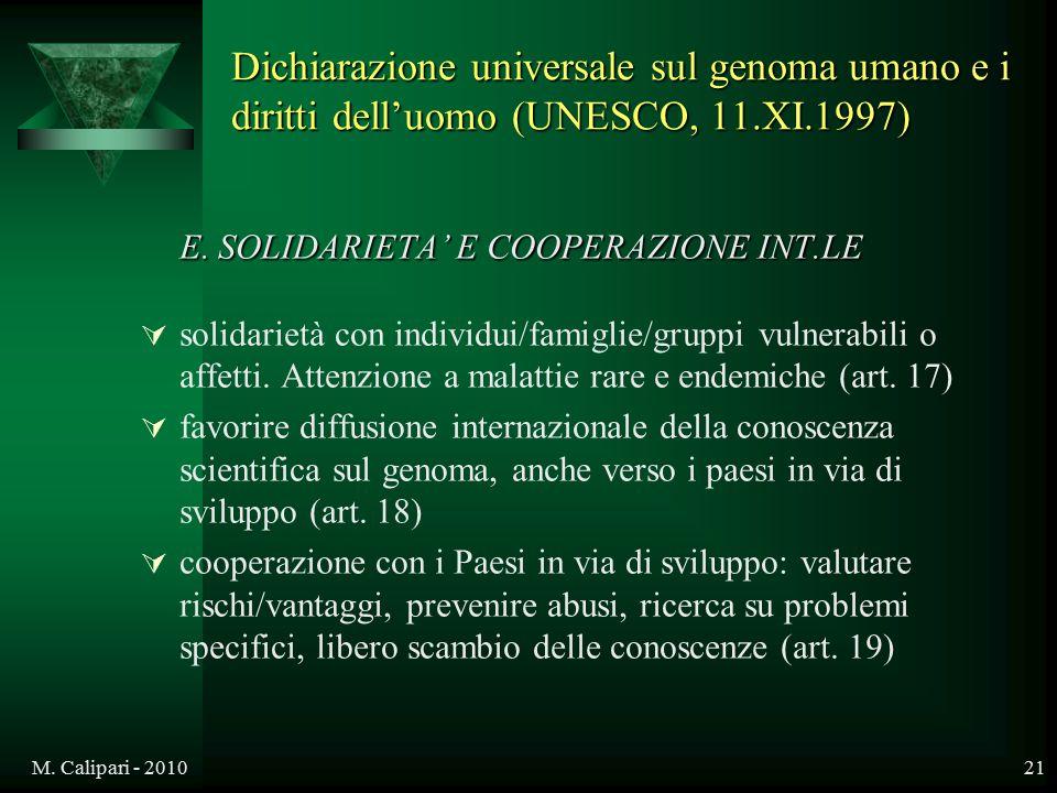 M. Calipari - 201021 E. SOLIDARIETA' E COOPERAZIONE INT.LE  solidarietà con individui/famiglie/gruppi vulnerabili o affetti. Attenzione a malattie ra