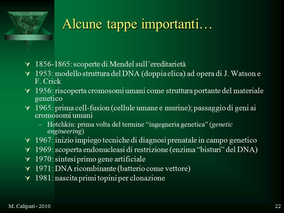 M. Calipari - 201022 Alcune tappe importanti…  1856-1865: scoperte di Mendel sull'ereditarietà  1953: modello struttura del DNA (doppia elica) ad op