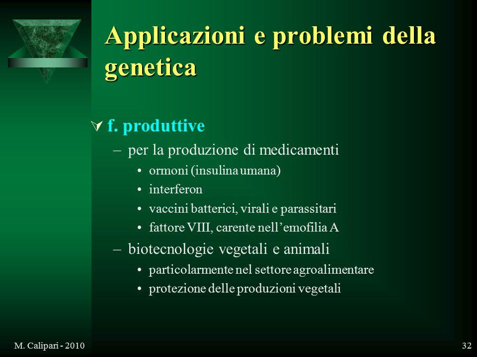 M. Calipari - 201032 Applicazioni e problemi della genetica  f. produttive –per la produzione di medicamenti ormoni (insulina umana) interferon vacci