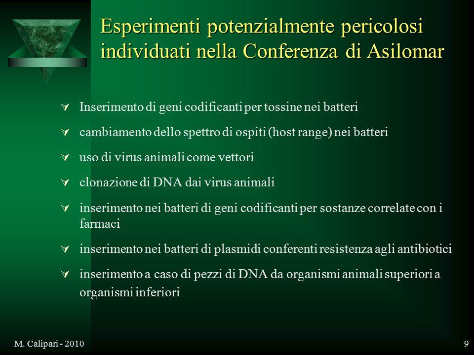M. Calipari - 20109 Esperimenti potenzialmente pericolosi individuati nella Conferenza di Asilomar  Inserimento di geni codificanti per tossine nei b