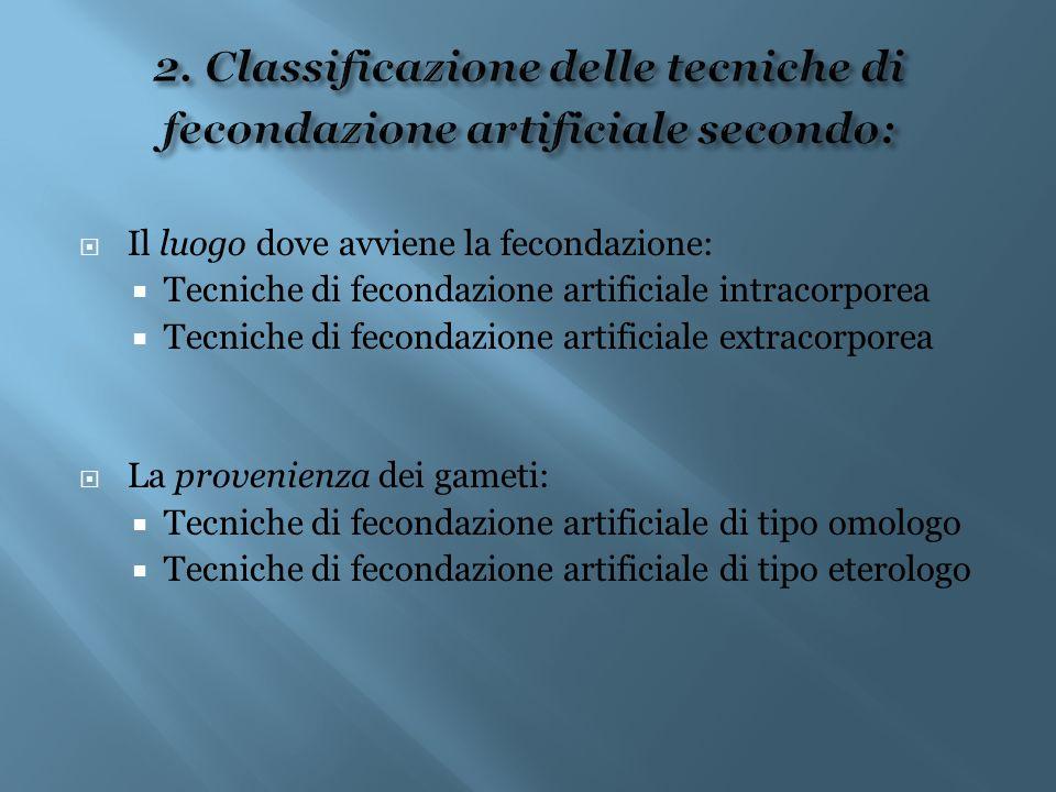  Il luogo dove avviene la fecondazione:  Tecniche di fecondazione artificiale intracorporea  Tecniche di fecondazione artificiale extracorporea  L
