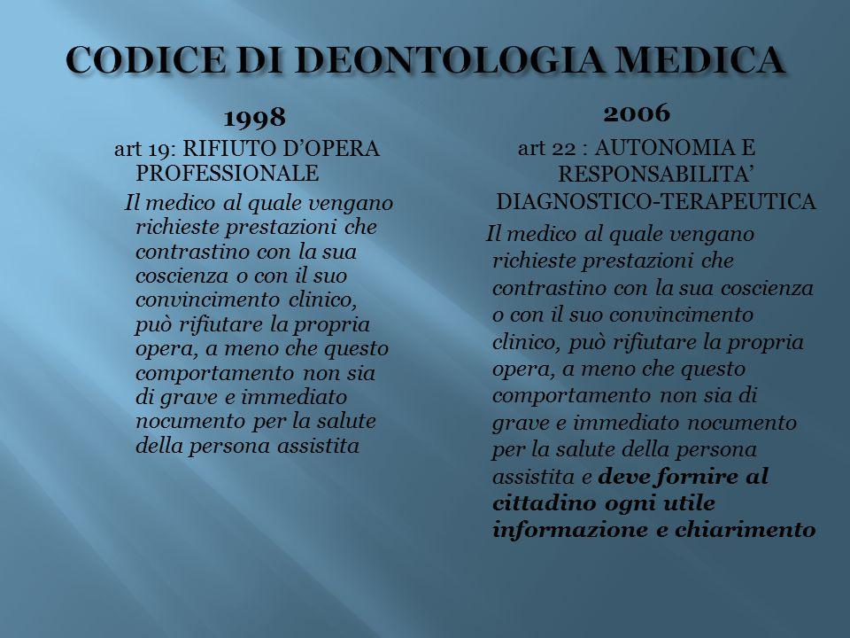 1998 art 19: RIFIUTO D'OPERA PROFESSIONALE Il medico al quale vengano richieste prestazioni che contrastino con la sua coscienza o con il suo convinci