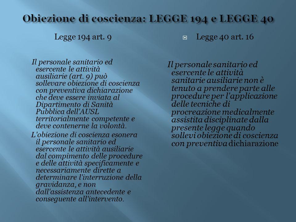 Legge 194 art. 9 Il personale sanitario ed esercente le attività ausiliarie (art. 9) può sollevare obiezione di coscienza con preventiva dichiarazione