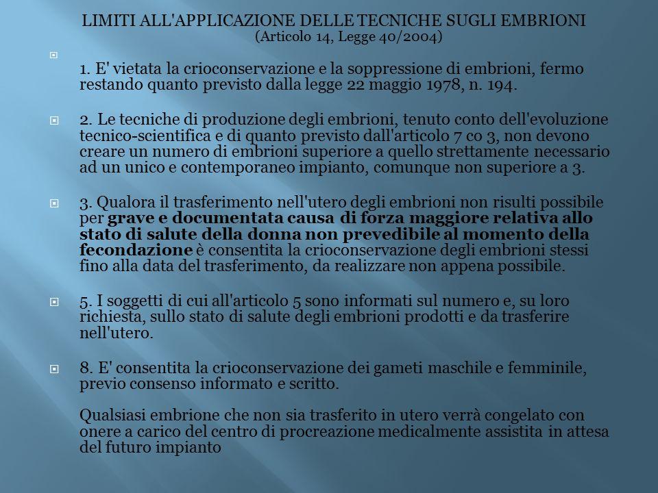 LIMITI ALL'APPLICAZIONE DELLE TECNICHE SUGLI EMBRIONI (Articolo 14, Legge 40/2004)  1. E' vietata la crioconservazione e la soppressione di embrioni,