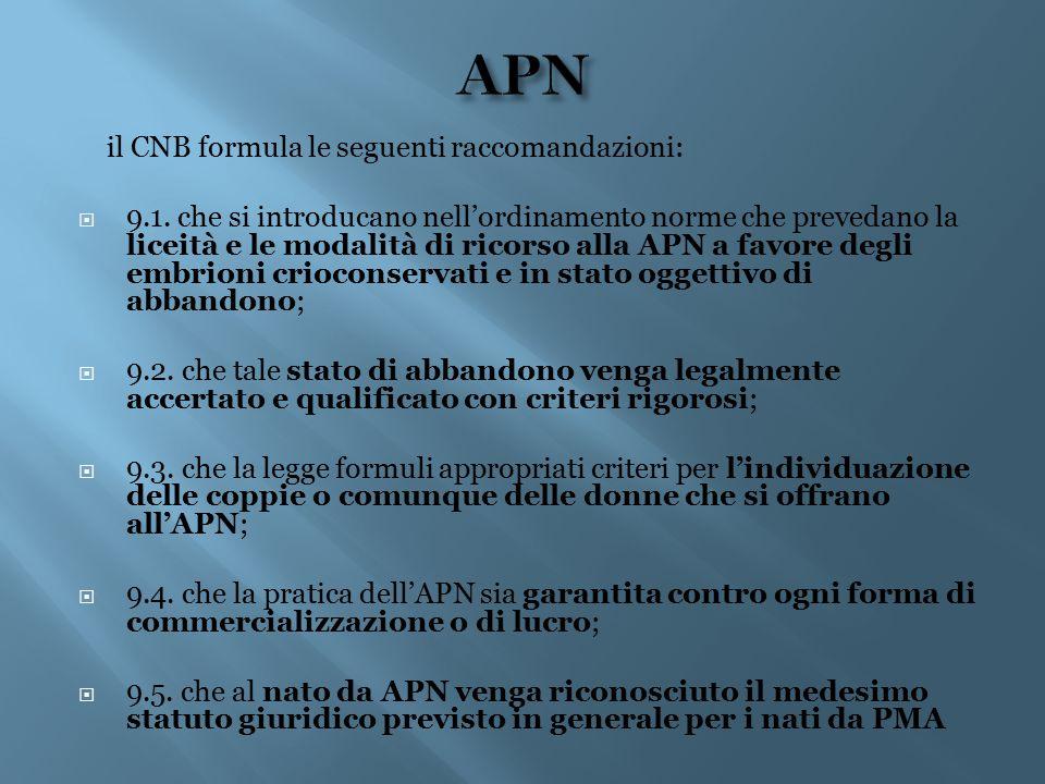 il CNB formula le seguenti raccomandazioni:  9.1. che si introducano nell'ordinamento norme che prevedano la liceità e le modalità di ricorso alla AP