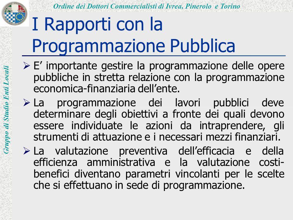 Ordine dei Dottori Commercialisti di Ivrea, Pinerolo e Torino Gruppo di Studio Enti Locali I Rapporti con la Programmazione Pubblica  E' importante gestire la programmazione delle opere pubbliche in stretta relazione con la programmazione economica-finanziaria dell'ente.