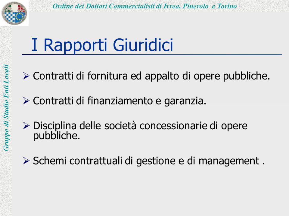 Ordine dei Dottori Commercialisti di Ivrea, Pinerolo e Torino Gruppo di Studio Enti Locali I Rapporti Giuridici  Contratti di fornitura ed appalto di opere pubbliche.