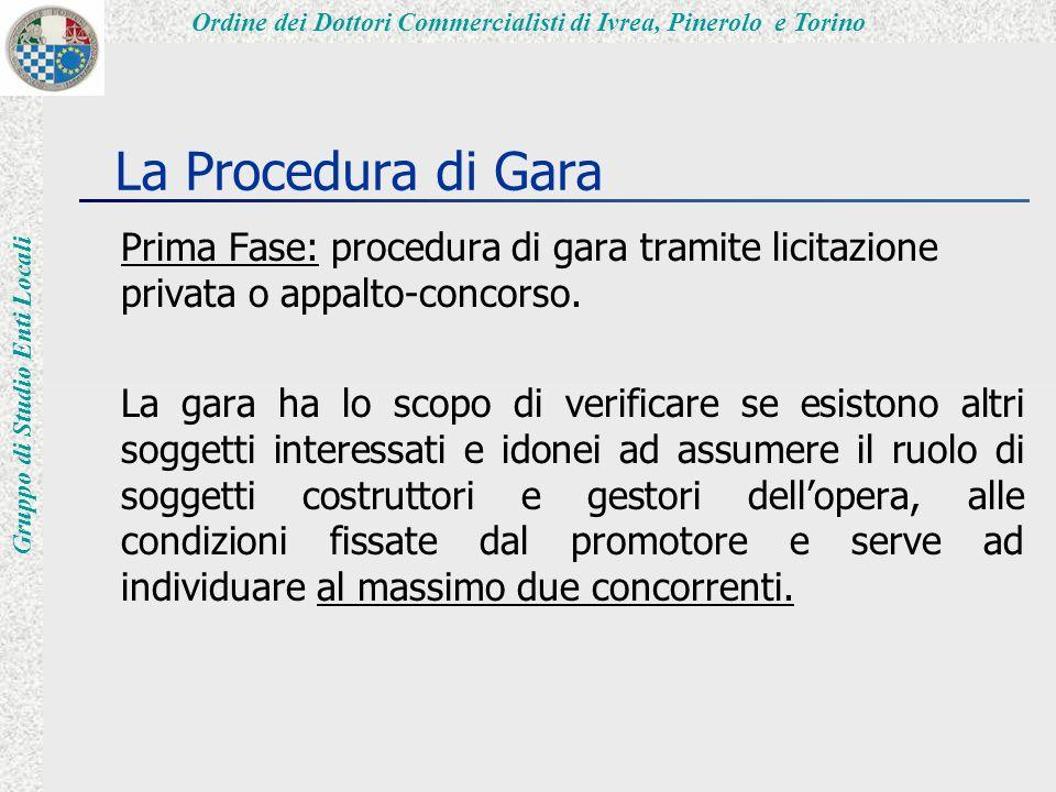 Ordine dei Dottori Commercialisti di Ivrea, Pinerolo e Torino Gruppo di Studio Enti Locali La Procedura di Gara Prima Fase: procedura di gara tramite licitazione privata o appalto-concorso.