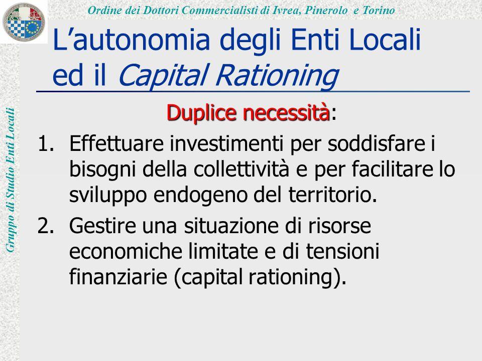 Ordine dei Dottori Commercialisti di Ivrea, Pinerolo e Torino Gruppo di Studio Enti Locali L'autonomia degli Enti Locali ed il Capital Rationing