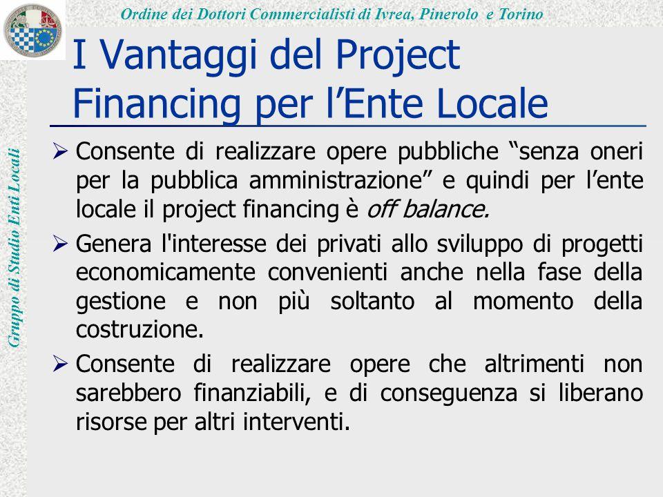 Ordine dei Dottori Commercialisti di Ivrea, Pinerolo e Torino Gruppo di Studio Enti Locali I Vantaggi del Project Financing per l'Ente Locale  Consente di realizzare opere pubbliche senza oneri per la pubblica amministrazione e quindi per l'ente locale il project financing è off balance.