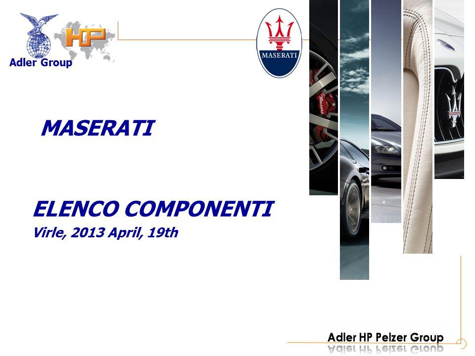 Adler Group ELENCO COMPONENTI Virle, 2013 April, 19th MASERATI