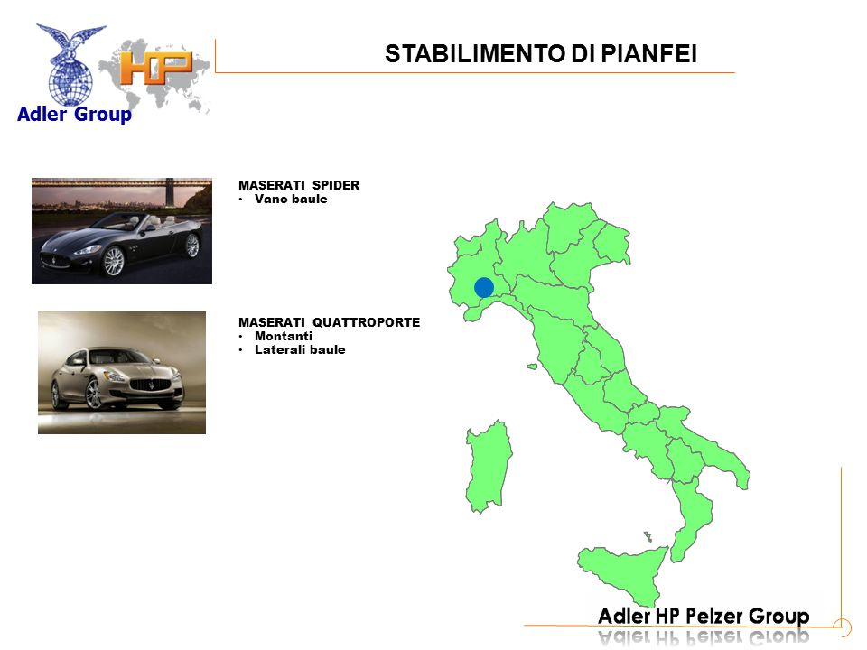 Adler Group A MASERATI COUPE/SPIDER Plancia Pannelli porta Tunnel Cappelliera MASERATI QUATTROPORTE Plancia Montanti Cappelliera STABILIMENTO DI PESARO