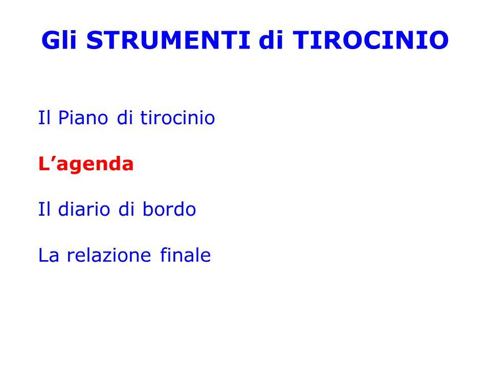 Gli STRUMENTI di TIROCINIO Il Piano di tirocinio L'agenda Il diario di bordo La relazione finale