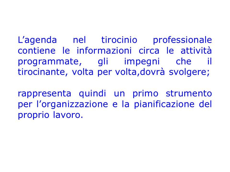 L'agenda nel tirocinio professionale contiene le informazioni circa le attività programmate, gli impegni che il tirocinante, volta per volta,dovrà svolgere; rappresenta quindi un primo strumento per l'organizzazione e la pianificazione del proprio lavoro.