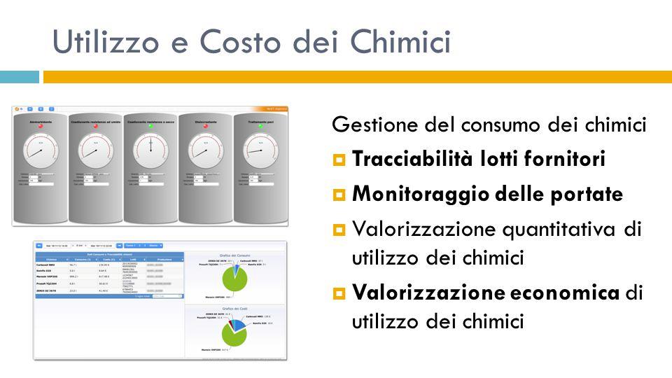 Utilizzo e Costo dei Chimici Gestione del consumo dei chimici  Tracciabilità lotti fornitori  Monitoraggio delle portate  Valorizzazione quantitati