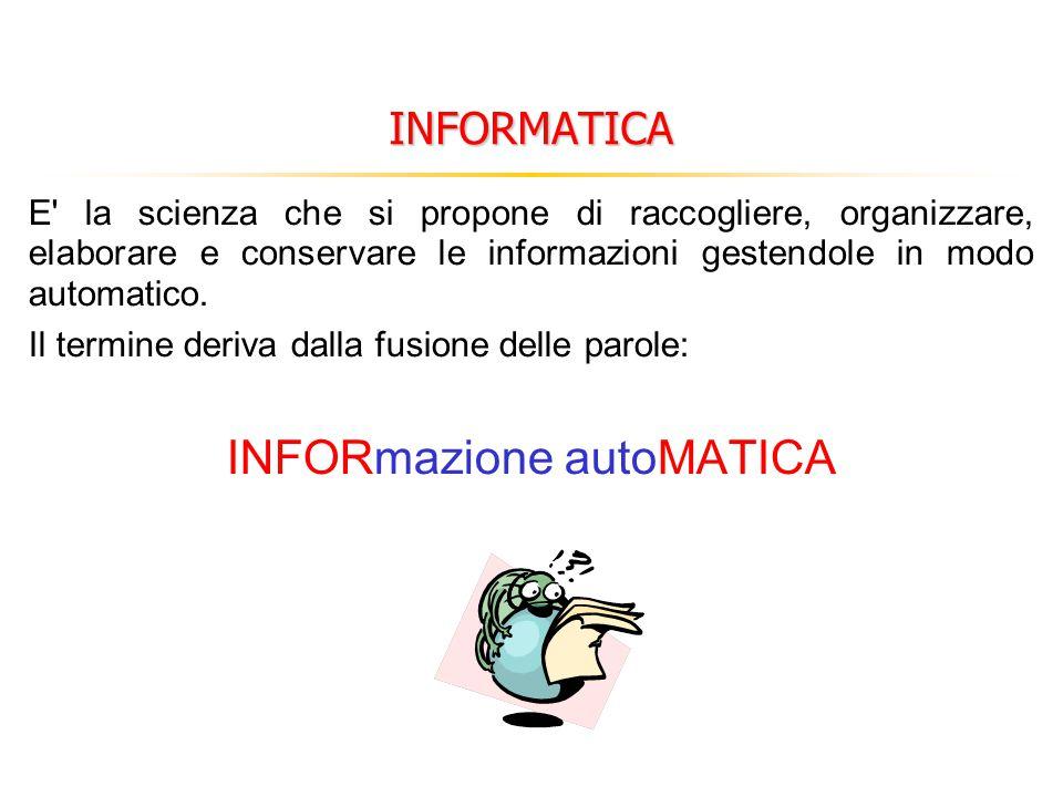 INFORMATICA E' la scienza che si propone di raccogliere, organizzare, elaborare e conservare le informazioni gestendole in modo automatico. Il termine