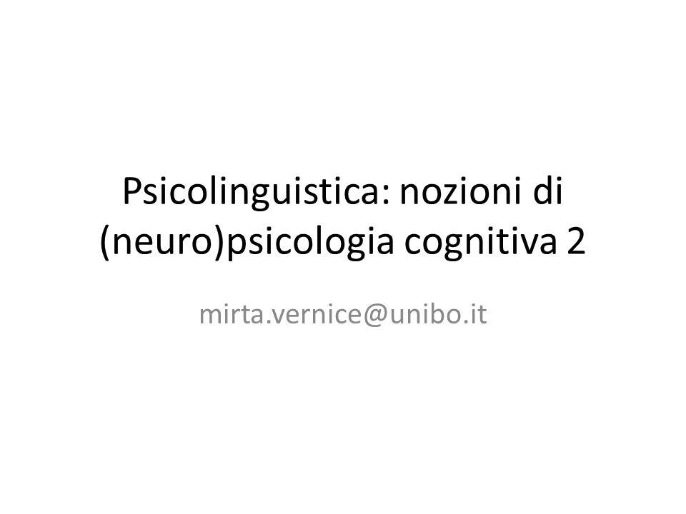 Psicolinguistica: nozioni di (neuro)psicologia cognitiva 2 mirta.vernice@unibo.it