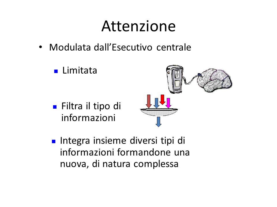 Attenzione Modulata dall'Esecutivo centrale Limitata Filtra il tipo di informazioni Integra insieme diversi tipi di informazioni formandone una nuova, di natura complessa