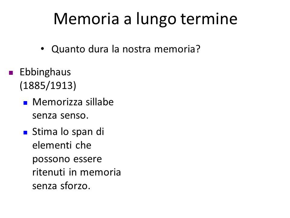 Memoria a lungo termine Quanto dura la nostra memoria? Ebbinghaus (1885/1913) Memorizza sillabe senza senso. Stima lo span di elementi che possono ess