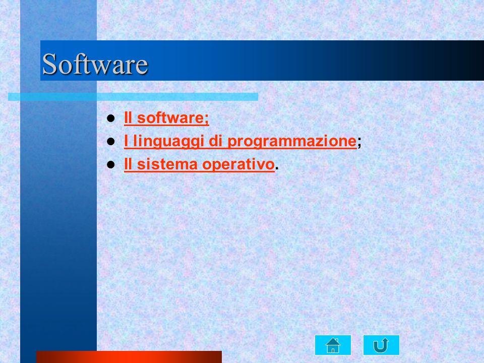 Software Il software; I linguaggi di programmazione; I linguaggi di programmazione Il sistema operativo. Il sistema operativo