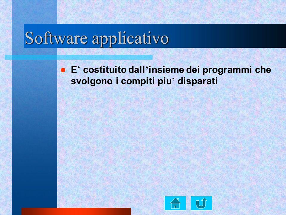 Software applicativo E ' costituito dall ' insieme dei programmi che svolgono i compiti piu ' disparati