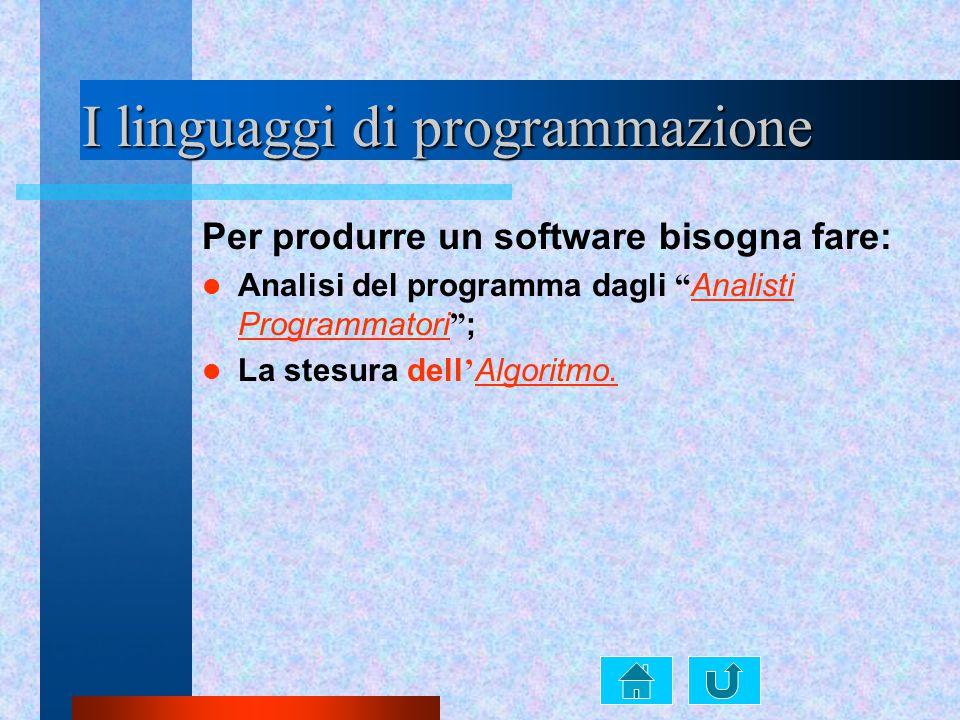 """I linguaggi di programmazione Per produrre un software bisogna fare: Analisi del programma dagli """" Analisti Programmatori """" ; La stesura dell ' Algori"""