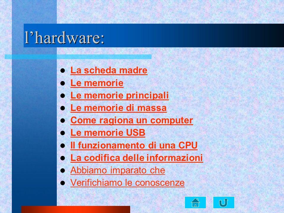 l'hardware: La scheda madre Le memorie Le memorie principali Le memorie di massa Come ragiona un computer Le memorie USB Il funzionamento di una CPU L