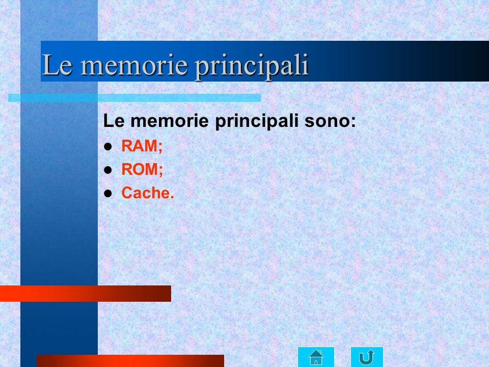Le memorie principali Le memorie principali sono: RAM; ROM; Cache.