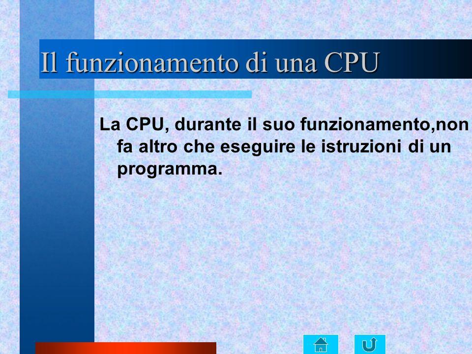 Il funzionamento di una CPU La CPU, durante il suo funzionamento,non fa altro che eseguire le istruzioni di un programma.