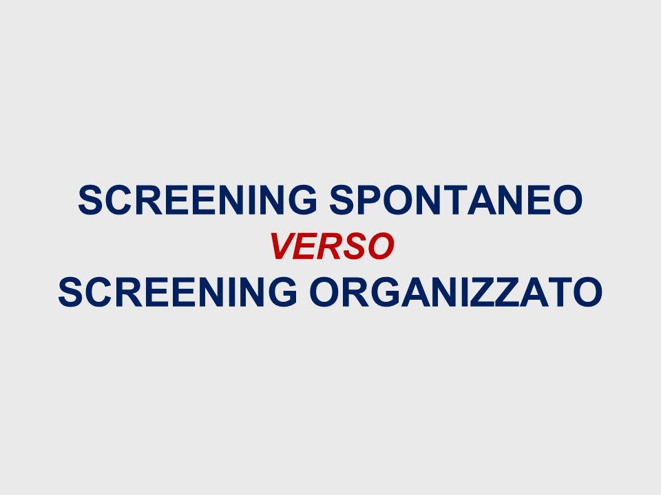 SCREENING SPONTANEO VERSO SCREENING ORGANIZZATO