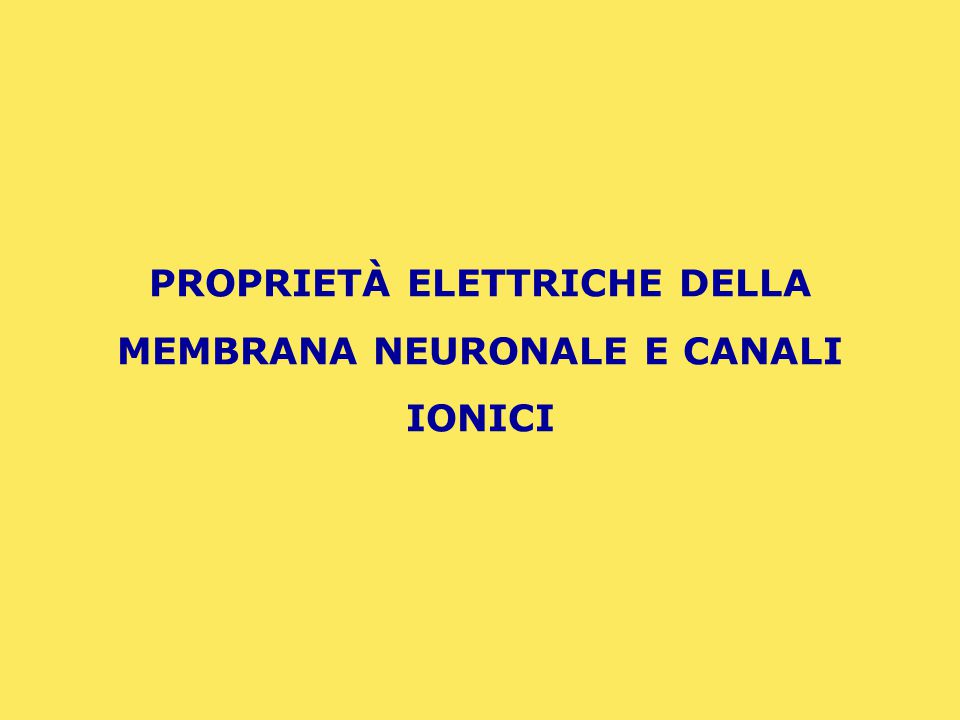 LA MEMBRANA NEURONALE: PROPRIETÀ CAPACITIVE E PROPRIETÀ RESISTIVE
