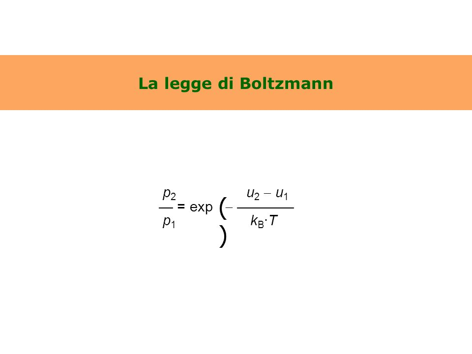 La legge di Boltzmann p 2 u 2  u 1 — = exp  ———— p 1 k B ·T ()()