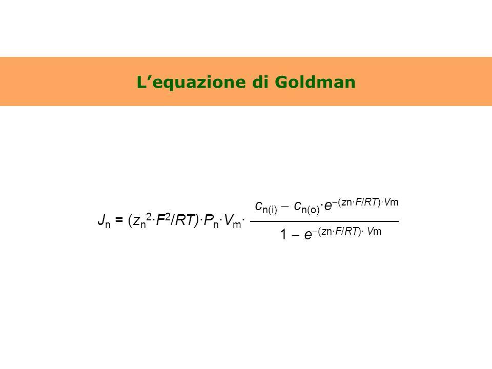 L'equazione di Goldman c n(i)  c n(o) ·e  (zn·F/RT)·Vm J n = (z n 2 ·F 2 /RT)·P n ·V m · —————————— 1  e  (zn·F/RT)· Vm