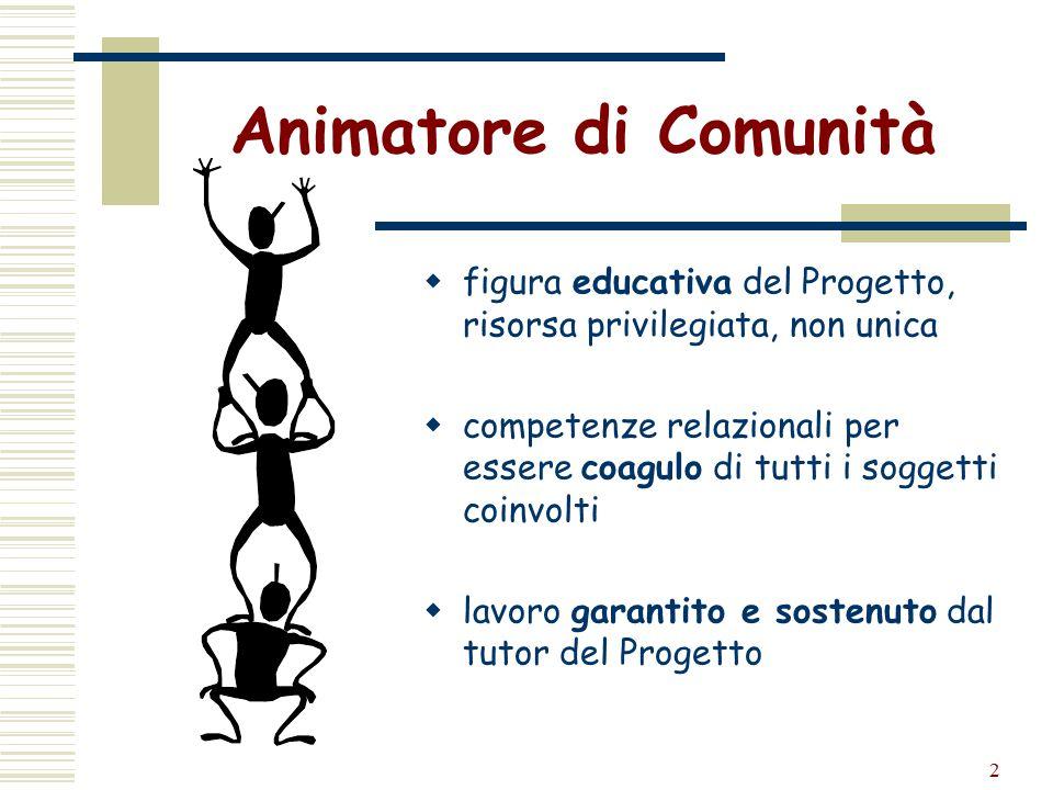 2 Animatore di Comunità  figura educativa del Progetto, risorsa privilegiata, non unica  competenze relazionali per essere coagulo di tutti i sogget