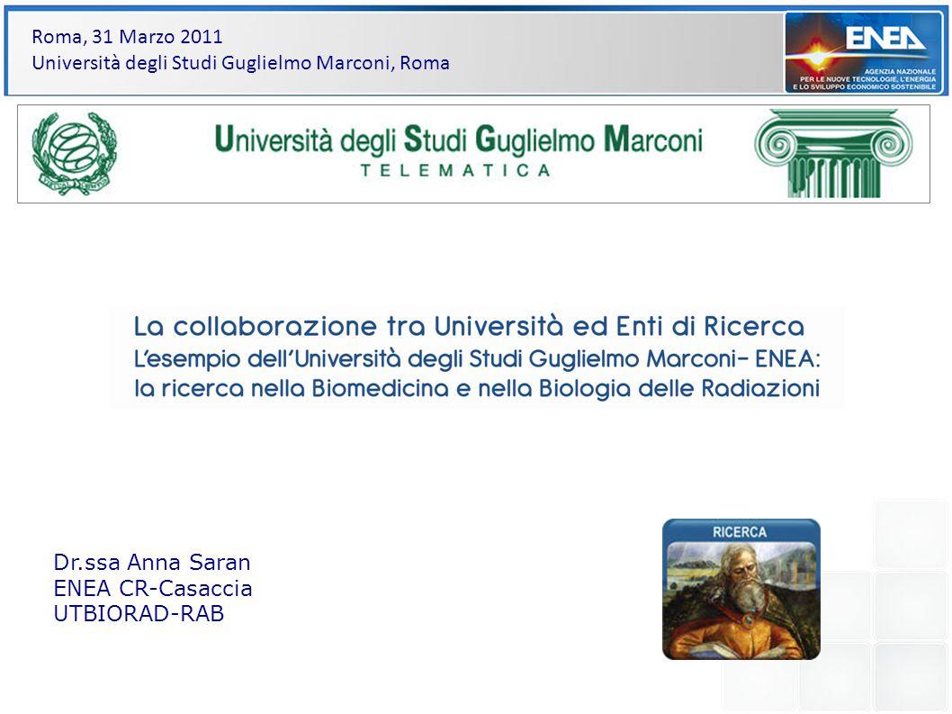 titoli Dr.ssa Anna Saran ENEA CR-Casaccia UTBIORAD-RAB Roma, 31 Marzo 2011 Università degli Studi Guglielmo Marconi, Roma