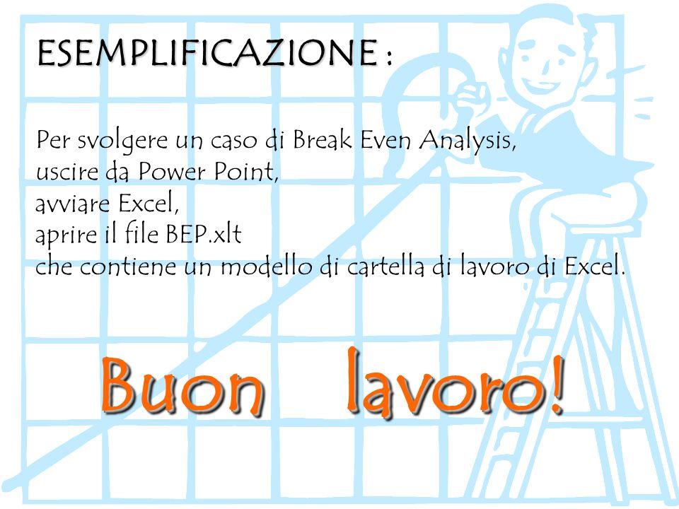 Per svolgere un caso di Break Even Analysis, uscire da Power Point, avviare Excel, aprire il file BEP.xlt che contiene un modello di cartella di lavor