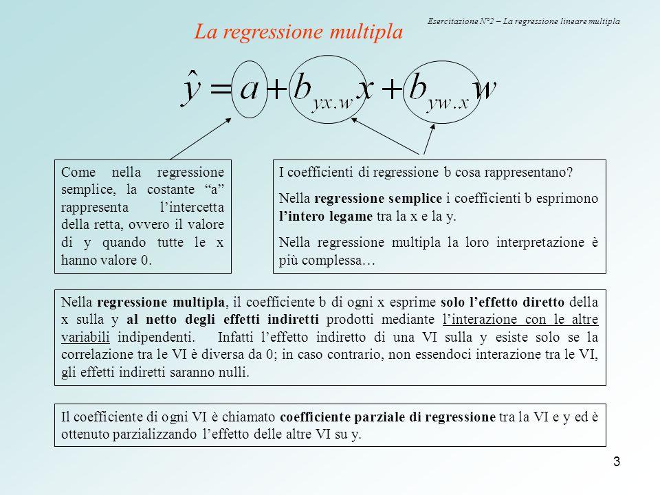 4 Esercitazione N°2 – La regressione lineare multipla Con spss è possibile stimare i parametri della retta di regressione multipla… Nell'esempio proposto, la variabile peso viene considerata variabile dipendente.