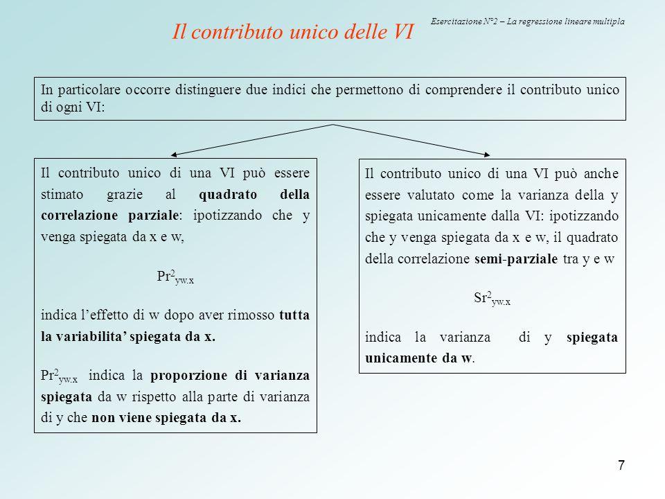 8 Esercitazione N°2 – La regressione lineare multipla e W X a c b Il contributo unico delle VI