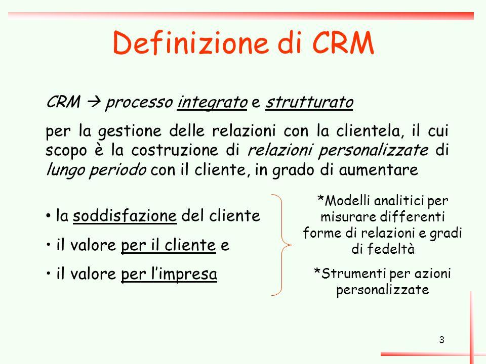 3 Definizione di CRM CRM  processo integrato e strutturato per la gestione delle relazioni con la clientela, il cui scopo è la costruzione di relazio