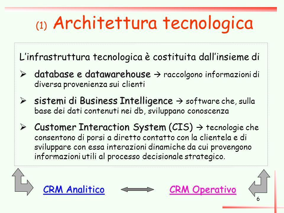 6 (1) Architettura tecnologica L'infrastruttura tecnologica è costituita dall'insieme di  database e datawarehouse  database e datawarehouse  racco