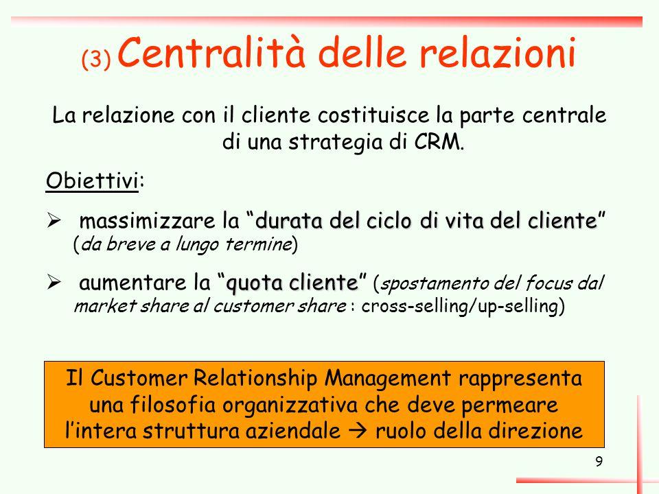 9 (3) Centralità delle relazioni La relazione con il cliente costituisce la parte centrale di una strategia di CRM. Obiettivi: durata del ciclo di vit