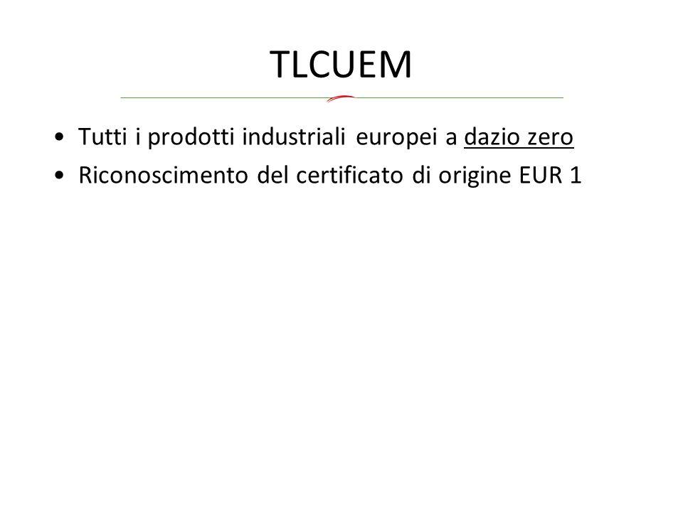 TLCUEM Tutti i prodotti industriali europei a dazio zero Riconoscimento del certificato di origine EUR 1