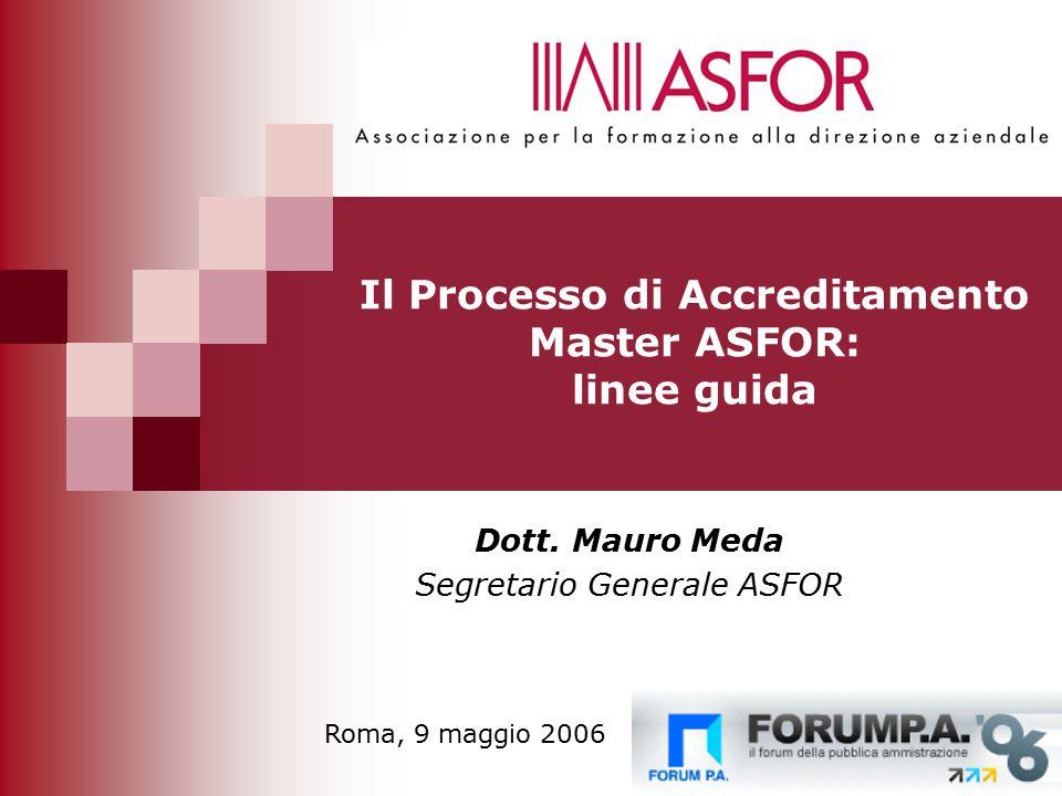 14 Il Processo di Accreditamento Master ASFOR: linee guida Dott.