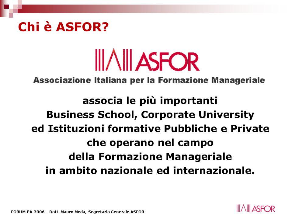 FORUM PA 2006 – Dott.Mauro Meda, Segretario Generale ASFOR Chi è ASFOR.